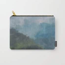 Abstract Painting, Gray, Blue, Navy, and Green Nature Mountain Hiking Print, Modern Wall Art Decor Carry-All Pouch