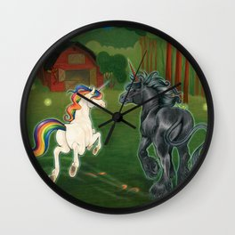Goodnight Unicorn Rainbow & Jet Black Wall Clock