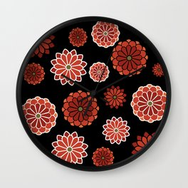 Chrysanthemum pattern on black Wall Clock