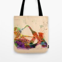 saxophone Tote Bags featuring music saxophone by mark ashkenazi