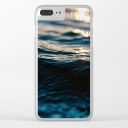 Blue Ocean Waves and Sunset Clear iPhone Case
