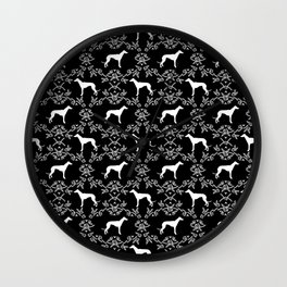 Greyhound floral silhouette black and white minimal dog silhouette dog breed pattern Wall Clock