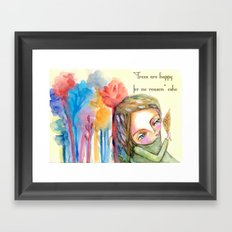 Trees are happy for no reason Osho quote inspirational words Framed Art Print