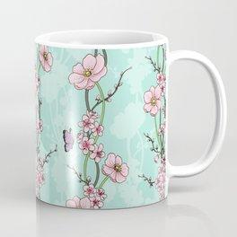 Japanese Garden - cherry blossom and anemones Coffee Mug