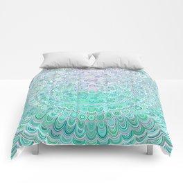 Turquoise Ice Flower Mandala Comforters