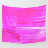 hot pink Wall Tapestries featuring Hot PINK by HollyJonesEcu