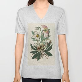 Christmas rose (Helleborus niger)  from Medical Botany (1836) by John Stephenson and James Morss Chu Unisex V-Neck
