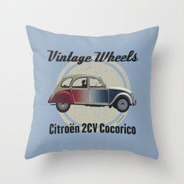 Vintage Wheels - Citroën 2CV Cocorico Throw Pillow