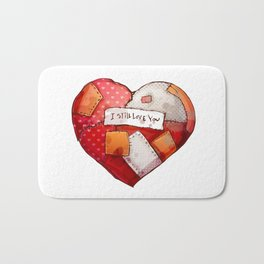 Heart with patches. Valentines day illustration. Bath Mat