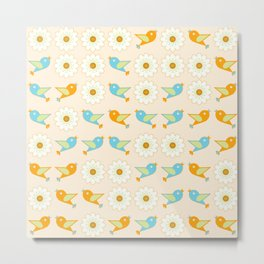 Birds and daisies Metal Print