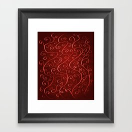 Whimsical Textured Glowing Rusty Red Swirls Framed Art Print