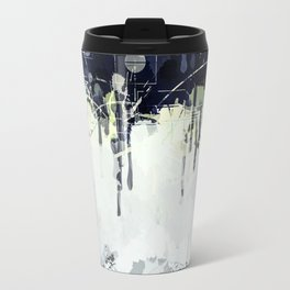 Modern Indigo Eclipse Abstract Design Travel Mug