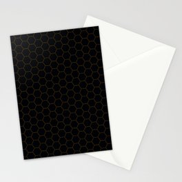 Black with fine line gold hexagon pattern Stationery Cards