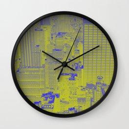 New York Buildings - Green Wall Clock