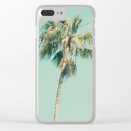 Turquoise palm tree Clear iPhone Case