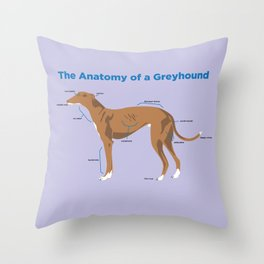 The Anatomy of a Greyhound - Red Throw Pillow