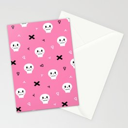 Cute Pink Skull Halloween Seamless Pattern Stationery Cards