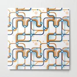 A subway map. Seamless pattern. Vector illustration. Metal Print