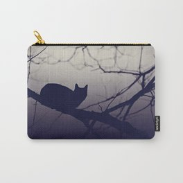 Mistery cat perching on tree in misty night Carry-All Pouch