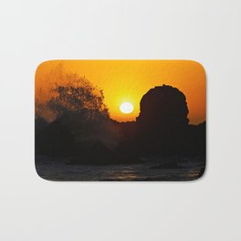 Sunset Crashing Waves Bath Mat