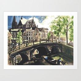 Canal Bridge in Amsterdam Netherlands Art Print