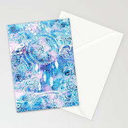 Mermaid blue turquoise watercolor boho dreamcatcher floral pattern Stationery Cards