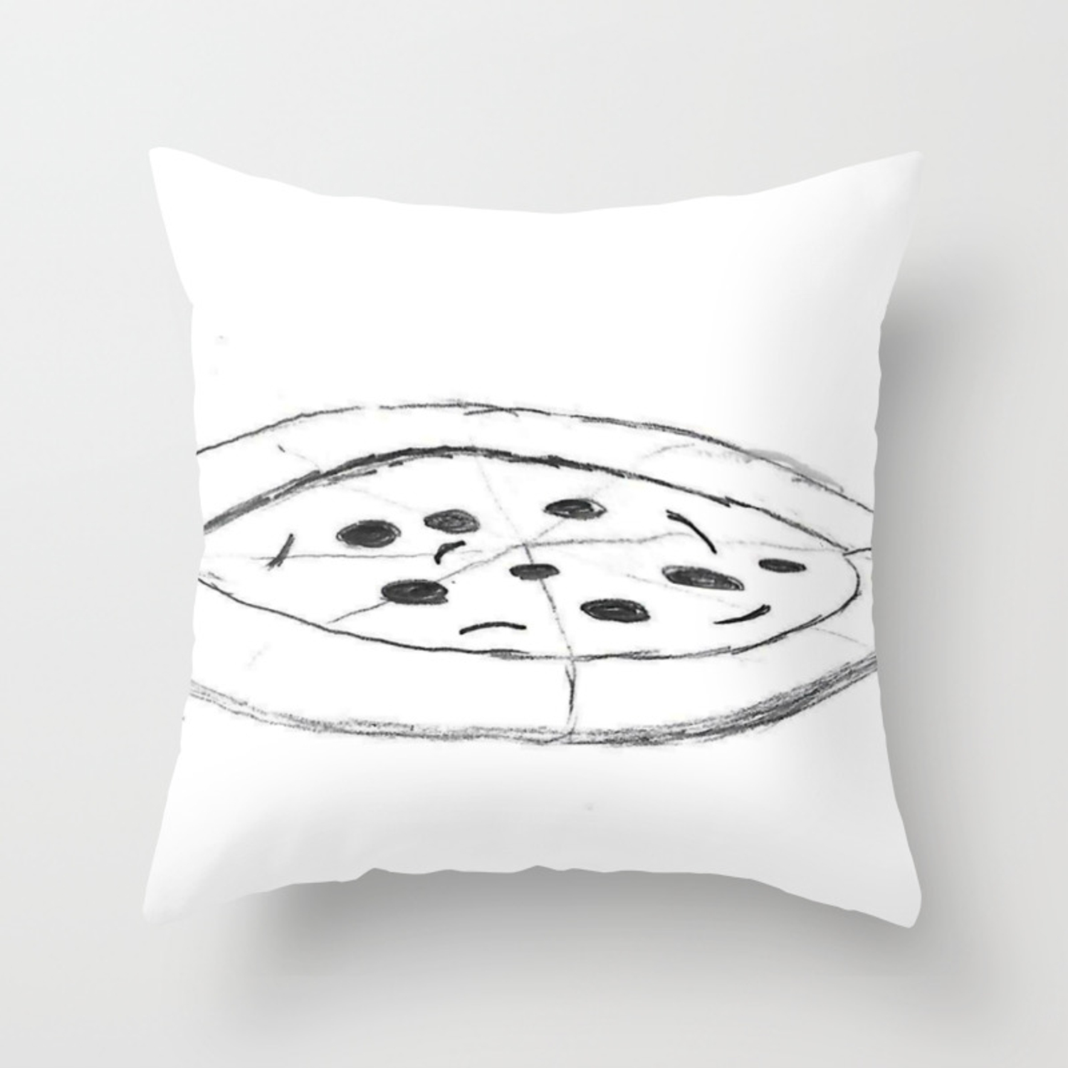 Pizza pencil drawing sketch illustration cartoon black and white comic art foodie throw pillow
