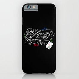 Mahjongg Mahjong Maven Ladies Game with Bamboo Tile (Dark) iPhone Case