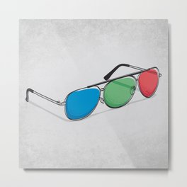 3D Glasses Metal Print