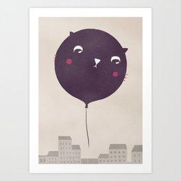 Cat balloon Art Print