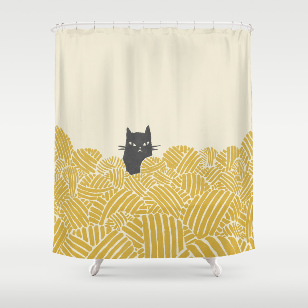 cat shower curtains society6. Black Bedroom Furniture Sets. Home Design Ideas