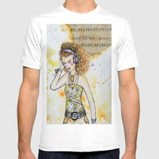 She Listens White Mens Fitted Tee SMALL