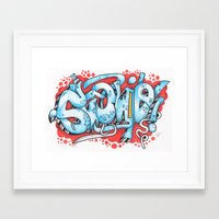 grafitti Framed Art Prints featuring Grafitti Illustration by Squidoodle