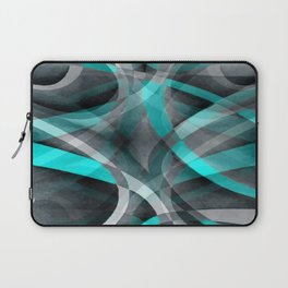 Eighties Turquoise and Grey Arched Line Pattern Laptop Sleeve