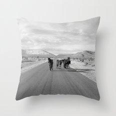 Spring Mountain Wild Horses Throw Pillow