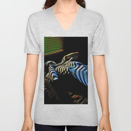 2238s-AK_5488 Nude Woman Striped by Window Blinds Rendered Composition Style Unisex V-Neck
