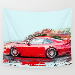 The Red Porsche Wall Tapestry