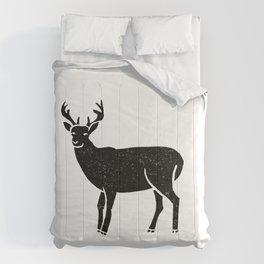 Buck deer antlers portrait minimal black and white linocut printmaking art Comforters