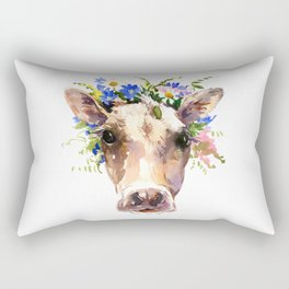 Cow Head, Floral Farm Animal Artwork Rectangular Pillow