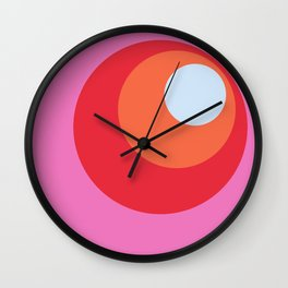 Xihe - Classic Colorful Pink Purple Abstract Minimal Retro 70s Style Dots Design Wall Clock