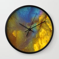 golden Wall Clocks featuring Golden by Benito Sarnelli