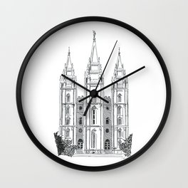 Salt Lake LDS Temple Ink Drawing Wall Clock