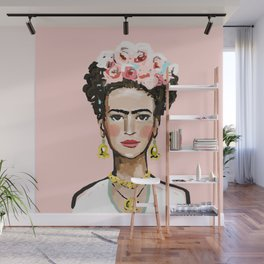 Frida on Soft Pink Wall Mural