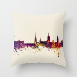 Stockholm Sweden Skyline Throw Pillow