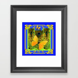BLUE ART NOUVEAU YELLOW BUTTERFLIES GREEN ART Framed Art Print