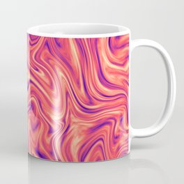 Abstract Colorful Marble Pattern Bright Living Coral, Neon Ultra Violet Coffee Mug