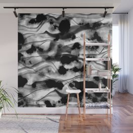 Moody Black Fog All Over Painting Texture with Streaky Light Leaks. Trendy Abstract Dark Mood Wall Mural