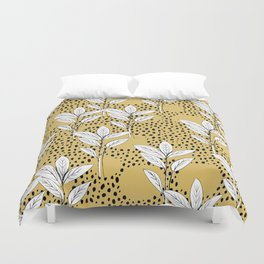 Summer leaves fall is coming garden and raindrops ochre yellow Duvet Cover