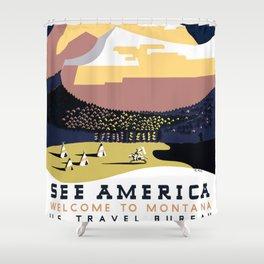 Vintage See America - Montana Travel Shower Curtain