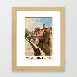 Vintage retro style Bruges travel advertising Framed Art Print